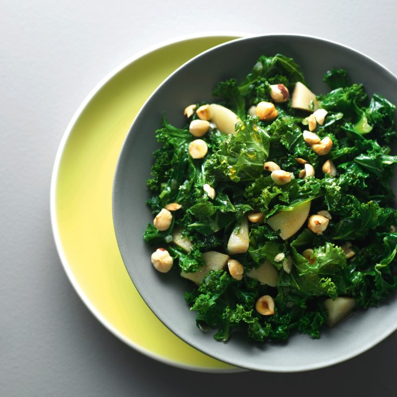Pan-fried kale with pomegranate and feta recipe