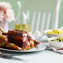 Tikka Roasted Chicken With Salted Cucumber Salad Recipe