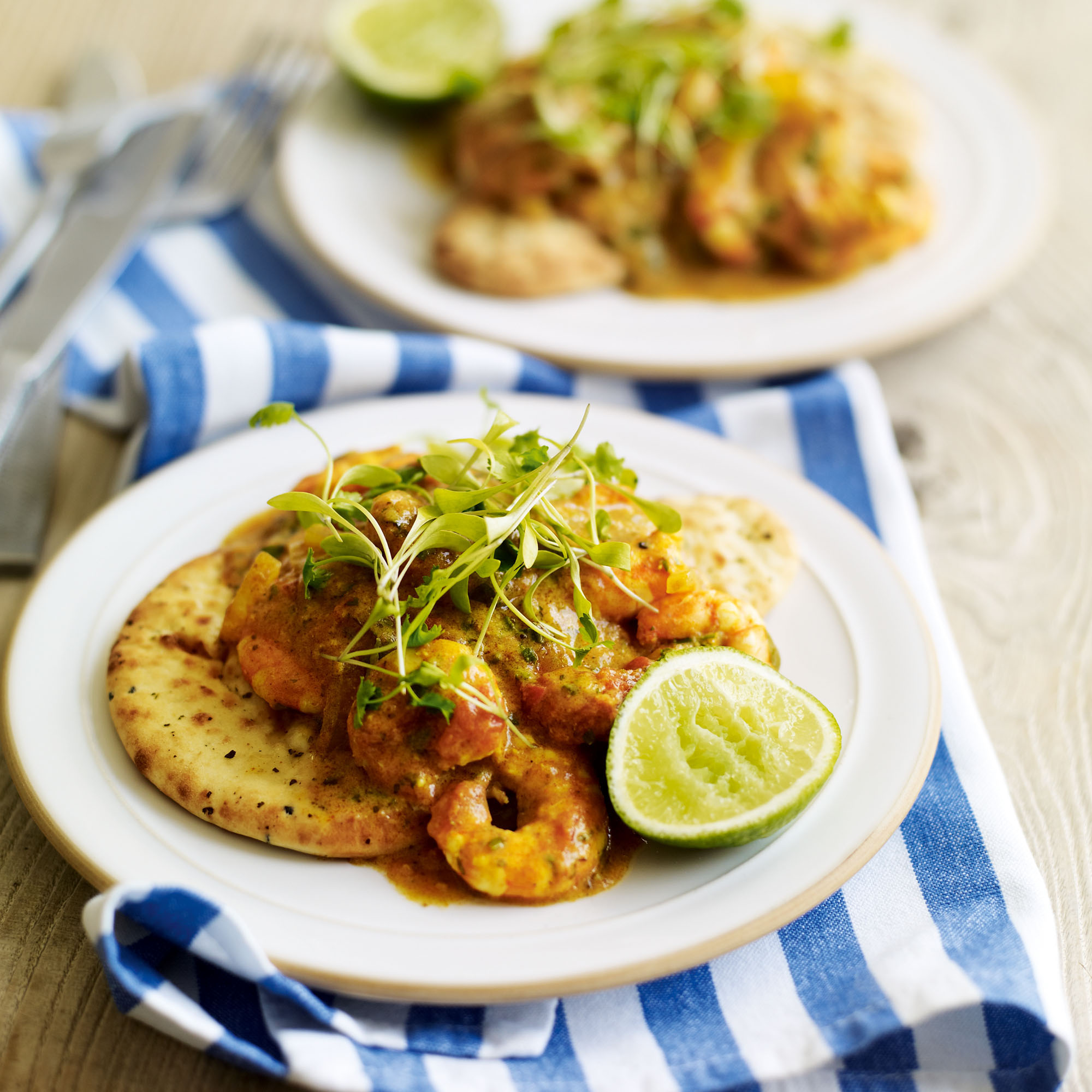 Prawn And Coconut Balti Curry With Naan Bread