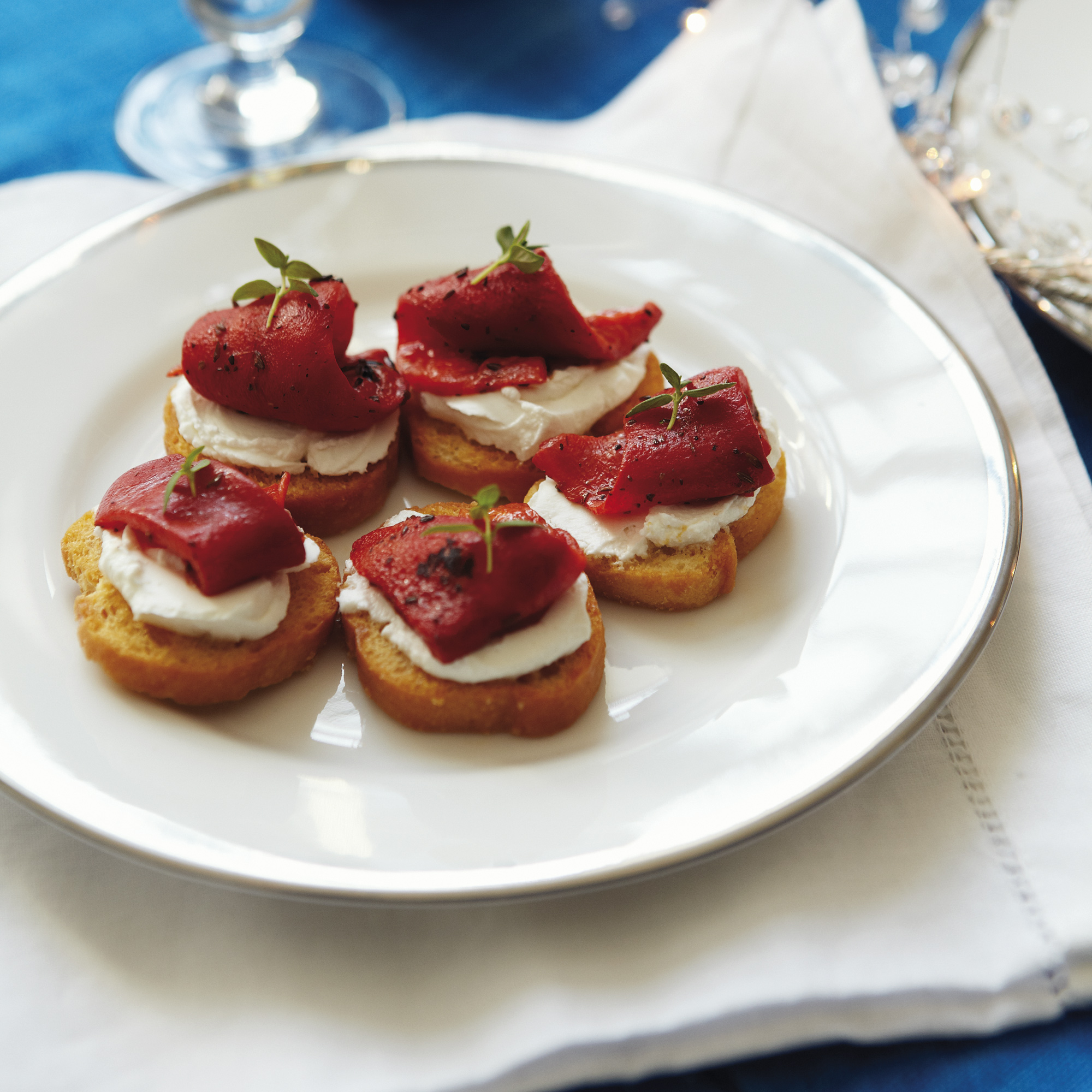 Crostini Of Roasted Red Peppers With Goats' Cheese Recipe