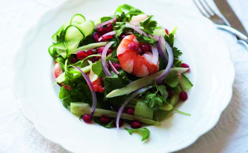 Prawn and fennel salad with pomegranate recipe