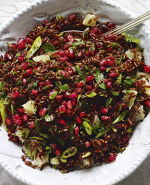Red rice salad with cranberries and pomegranates recipe