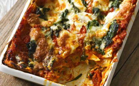 Tomato, Spinach and Three-Cheese Lasagne recipe