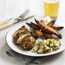 Jerk Chicken Breasts With Pineapple Salsa And Sweet Potato Wedges Recipe