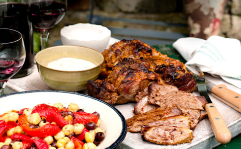 Harissa and yogurt marinated leg of lamb recipe