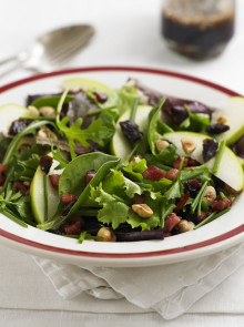 Crunchy pancetta and hazelnut salad with warm balsamic dressing recipe