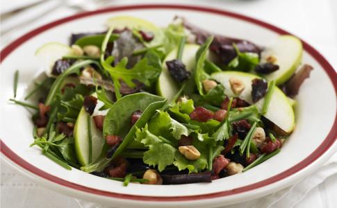 Crunchy pancetta and hazelnut salad with warm balsamic dressing recipe