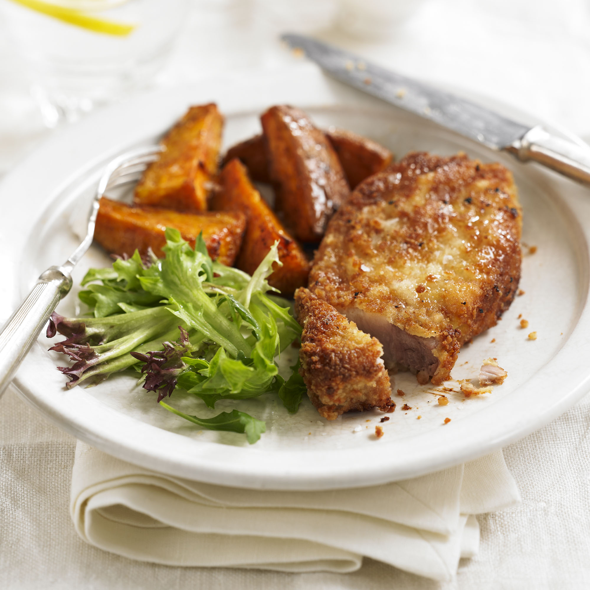 Parmesan pork with paprika sweet potato wedges recipe