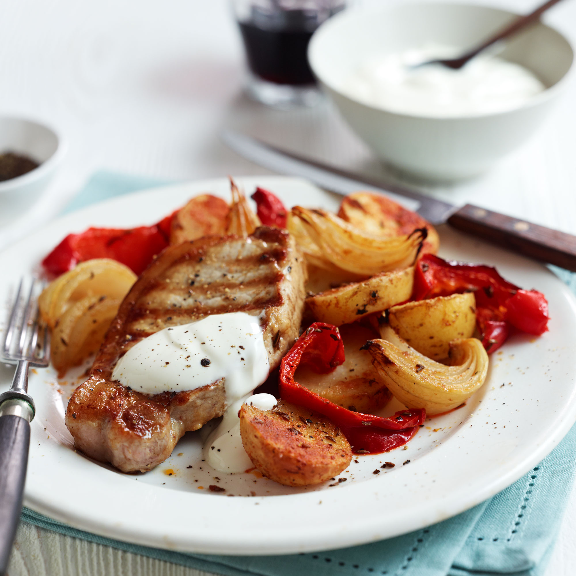 pork loin steaks with paprika potatoes and sour cream