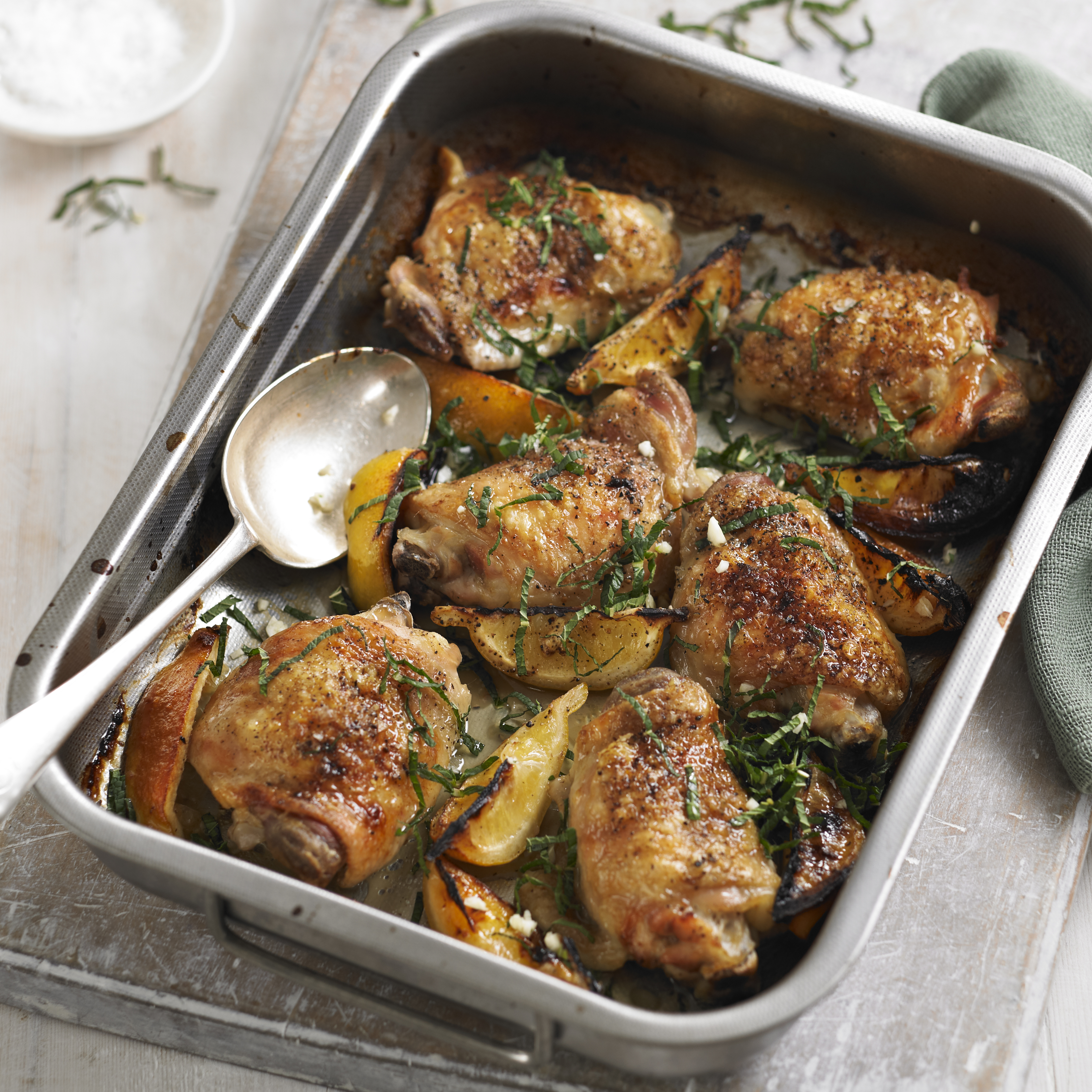 Roast chicken thighs with lemon and mint recipe
