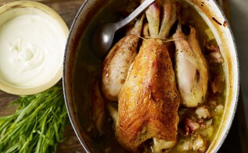 Pot roast chicken with creamy tarragon sauce recipe