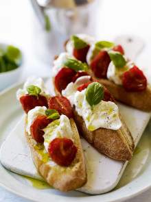 Oven-dried cherry tomato and mozzarella bruschetta recipe