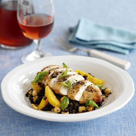 Grilled Chicken With Hazelnuts, Puy Lentils And Orange Recipe