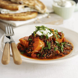 Spicy lentil and sweet potato stew recipe
