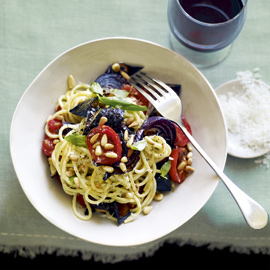 Super-quick roasted vegetable spaghetti recipe