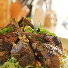 Siba's Pesto Stuffed Lamb Chops recipe