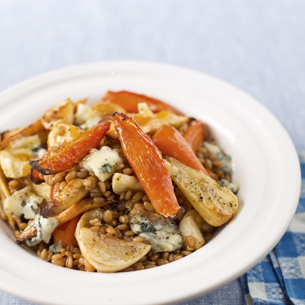 Roasted winter vegetables with spelt and blue cheese