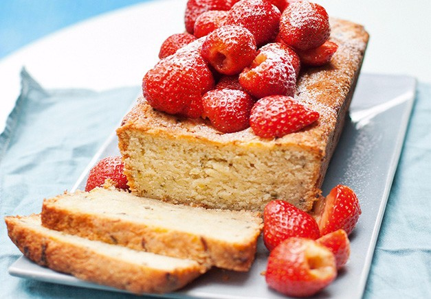 Lime And Courgette Loaf Cake with Strawberry Salad