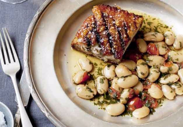 Slow-roasted pork belly with garlic and sage
