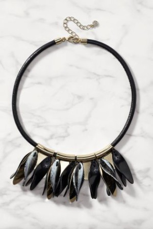 Black &Gold Leaf Drop Necklace,R265