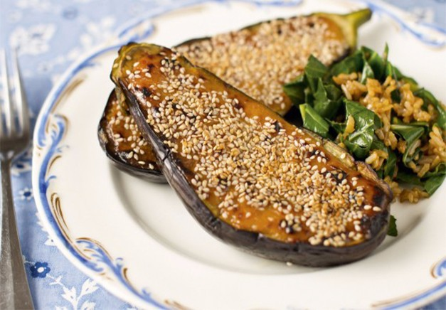 Grilled Aubergine with Miso Sesame