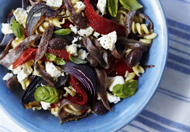 Pasta And Feta Salad With Roasted Veg
