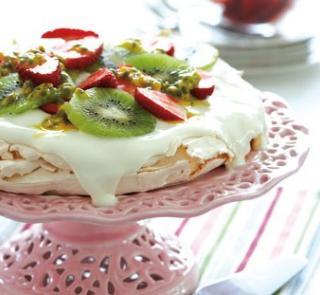 Homemade Pavlova with seasonal berries or fruit and dark chocolate recipe