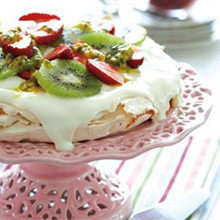 Homemade Pavlova with seasonal berries or fruit and dark chocolate recipe