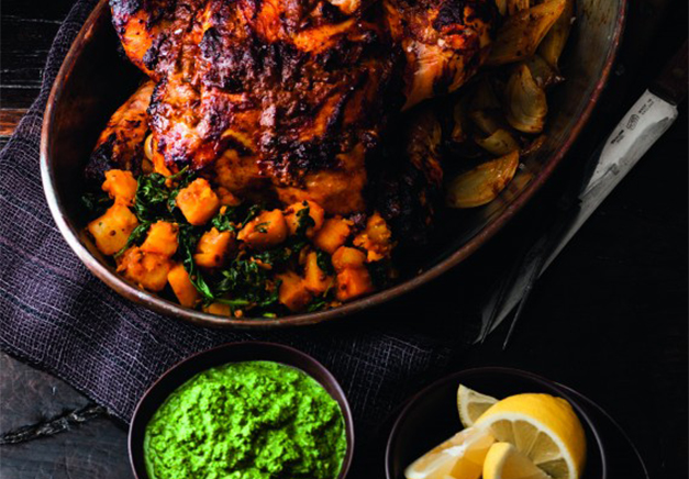 Tikka Roast Chicken With Sag Aloo And Green Chutney