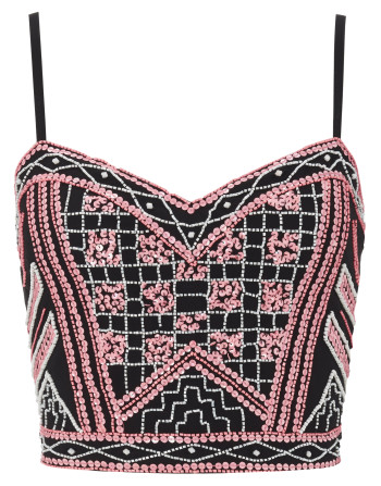 Lipsy_POR_Black Crop Cami with Pink Sequinned Aztec Detail_Front_Exclusively Avalaible at Flagship and Selected Edgars Stores