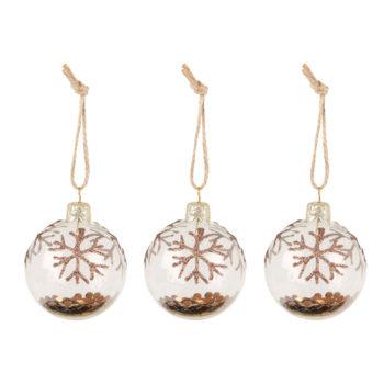 Bronze Glitter Christmas Baubles