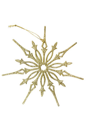 Gold Glitter Snowflake Christmas Bauble