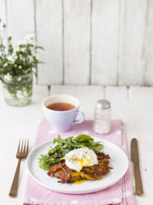 Sweet Potato rösti with poached eggs and crispy bacon