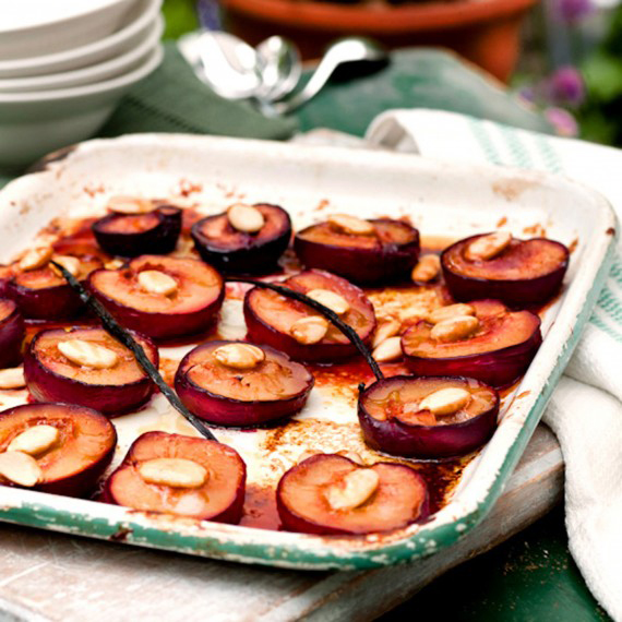 Honey and Rose Baked Plums