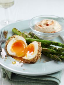 Dukkah eggs with griddled asparagus and houmous dip