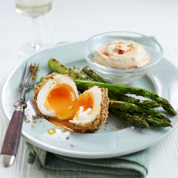 Dukkah Eggs with Griddled Asparagus and Hummus Recipe
