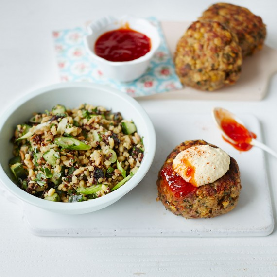 Lamb and chickpea burger