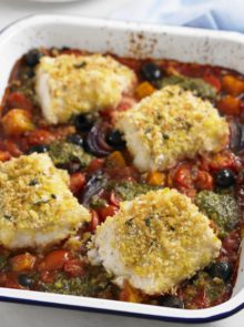 Crispy Hake Tray Bake Recipe