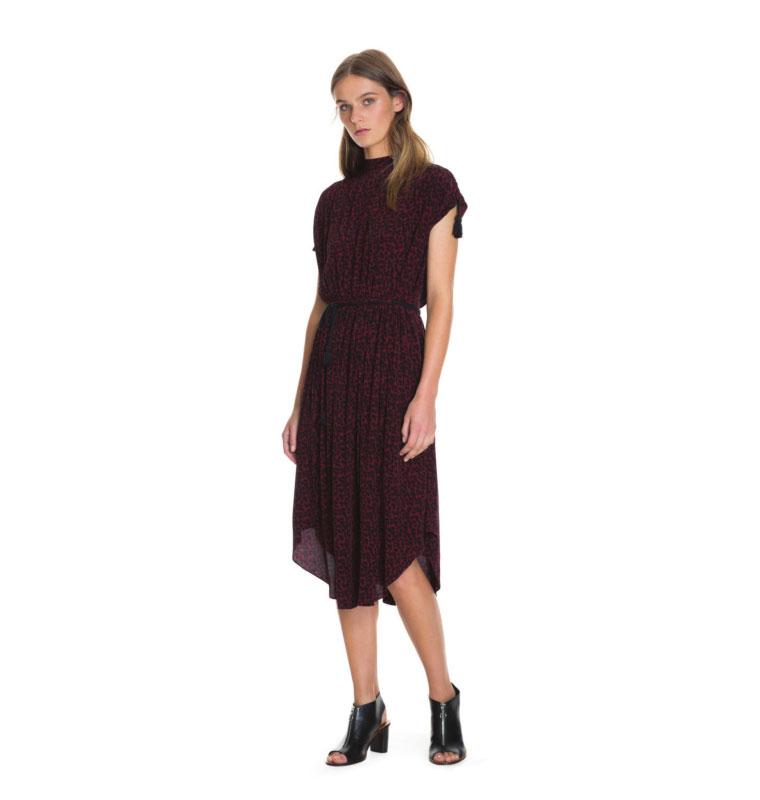 Burgundy Print Gathered Dress
