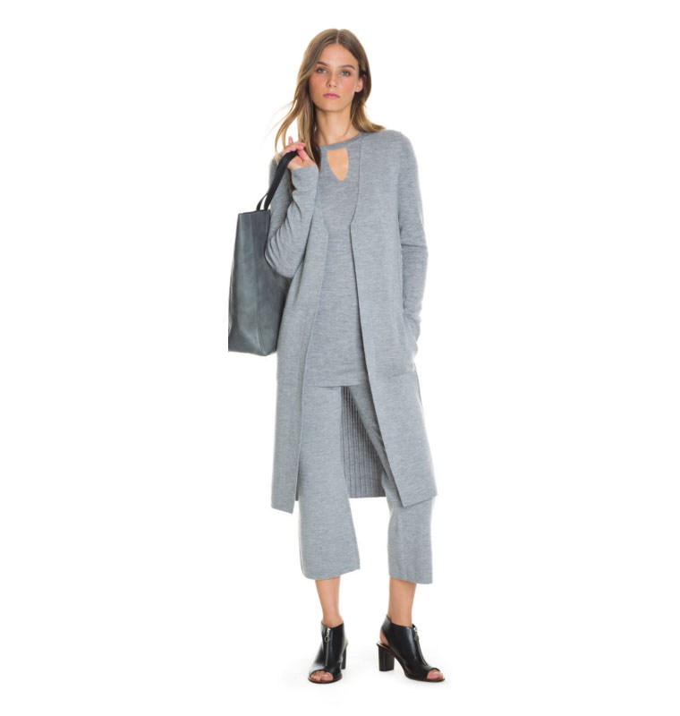 Light Grey Marle Merino Keyhole Knit