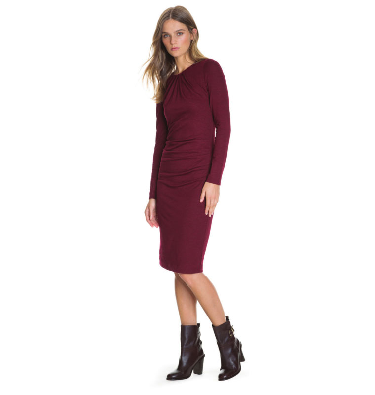 Burgundy Tuck Neck Dress