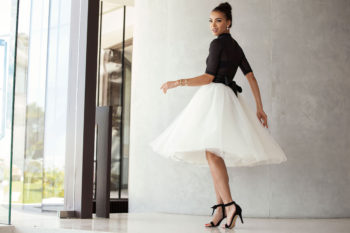 Black smart set crop top, R1 050; Tulle skirt, R1 980