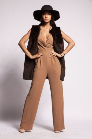 Jumpsuit, R2 300; Brown faux fur cashmere vest, R3 200