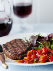 Griddled Rump Steaks With Balsamic Tomatoes Recipe