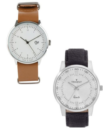 Tan strap watch, R499, Cheapo; Black strap watch, R149, Trident Lima, Both at Zando