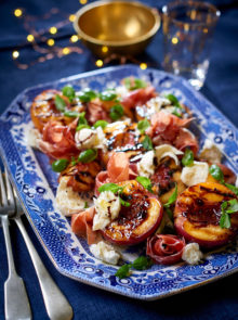 Chargrilled Nectarine Halves With Prosciutto, Bocconcini, And Basil Recipe