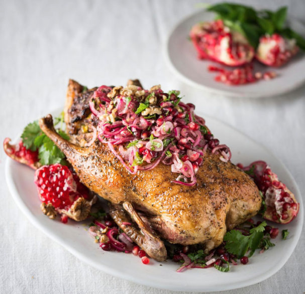 Roast Duck With Pomegranate And Red Onion Sambal Recipe