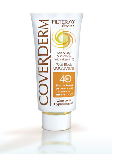 Celebrity anti ageing: Coverderm Filteray Face Sea & City Sunscreen SPF 40,