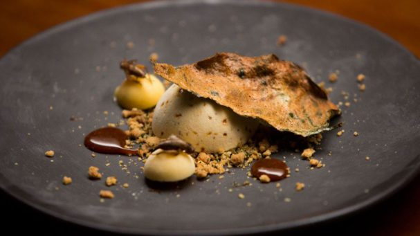 Eating insects: Cricket Caramel Semifreddo with Lime Curd and Betel Leaf Crumb
