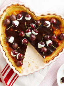 French Custard Flan With Chocolate Cherries Recipe